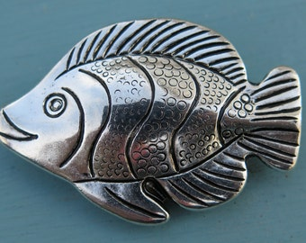 1PC - Fish Charm - Silver Toned - 45x30mm - Findings by ZARDENIA