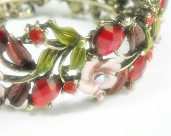 CIJ  Vintage 1970s Hinged Cuff Bracelet - Wide Red Rhinestone Cuff - Roses, Hearts, Leaves - Valentine - Mothers Day - Red, Pink Floral - Fl