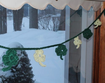 Crochet Shamrock Banner, Garland, Bunting, 7 feet long, Light and Dark Green, Home or Classroom Decor, St. Patrick's Day Decoration