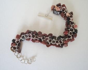 Rhodonite and Sterling Silver bracelet