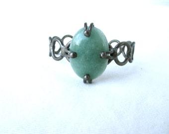 Vintage Cuff Bohemian Bracelet Green Stone Handmade Free People Style Hippie Cuff Boho Jewelry Festival Jewelry