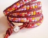 Jelly Bean Bracelet Red and Yellow Czech Glass Bracelet Heart Jewelry Heart Bracelet