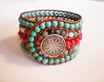 Cowgirl Bracelet Leather Cuff Bracelet Beaded Cuff Bracelet Gemstone Cuff Bracelet Wide Cuff