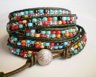Southwestern 5Wrap Bracelet Leather Wrap Bracelet Turquoise and Red Bracelet