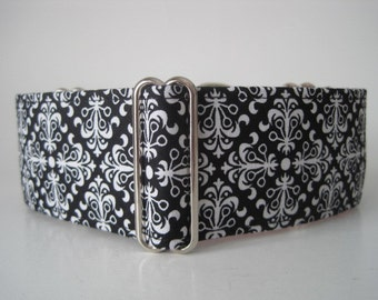Black and White Martingale Collar, 2 inch Martingale Collar, Black and White Dog Collar, Greyhound Collar, Sighthound Collar