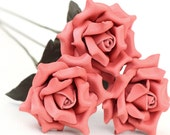 3 leather rose bouquet coral pink third Anniversary wedding gift Long Stem leather Flower Valentines 3rd Leather Anniversary Mother's Day
