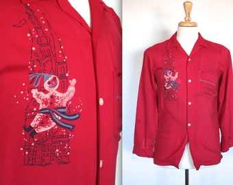Vintage 1940s Shirt // 40s Men's Red Gabardine Bonhomme Carnaval Rockabilly Shirt // Quebec Winter Festival // DIVINE