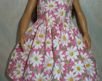 Handmade clothes for doll such as Lammily- Your choice - Pink or Blue daisy print dress