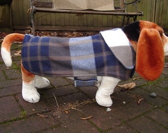 Navy Brown and White Plaid Fleece Coat- Size Medium- 16 to 18 Inch Back Length- Or Custom Size
