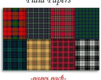 TARTAN PLAID PAPERS 1 - Digital Paper Pack -8 colorful Scottish Plaid Printable Papers,Instant Download Digital Printable