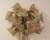 Christmas  Red, Green  and gold stripes wreath/decorative bow