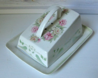 REDUCED!  Porcelain Cheese / Butter Tray and Cover / Romantic Home / Germany