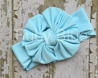Light Blue Messy Bow Head Wrap