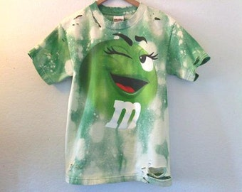 M & Ms Candy TShirt / Green M n M / Graphic / Funny / Distressed / 70s / 80s / 90s / Indie / Grunge / Festival / Unisex / Women / Men