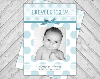 printable baby boy birth announcement cards plaid - polkadot birth announcement photo cards - blue (155)