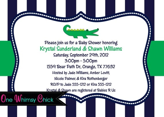 preppy alligator birthday invitation, baby shower alligator party,