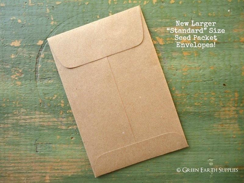 100 Standard Seed Envelopes Kraft Brown Standard Size Seed