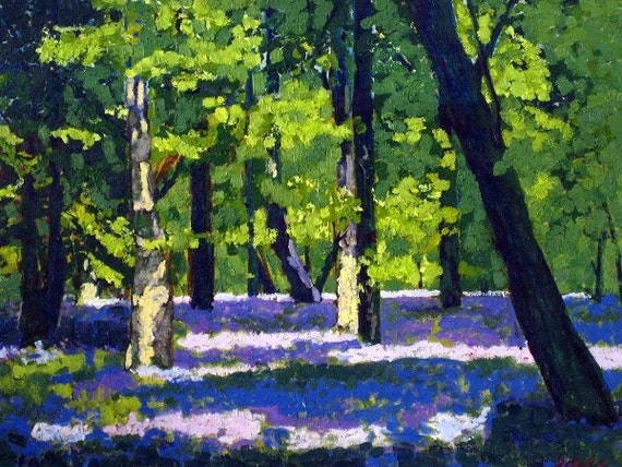 "Enchanted Forests Carpeted in Beautiful Bluebells,Landscape, Unframed, Original oil painting on canvas panel 45.5cm x 35.5cm (18"" x 14"")"