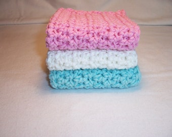 "Handmade Crocheted Dish / Wash  Cloths,Dishcloths,Washcloths,Kitchen Dishcloths - 100% Cotton - 8.5"" x 8.5"""