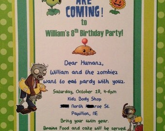 Set of 12 PLANTS VS. ZOMBIES Invitations Boy Birthday Party Personalized