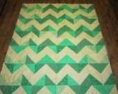 Green and Cream Zig-Zag Quilt Top- 59x69 inches