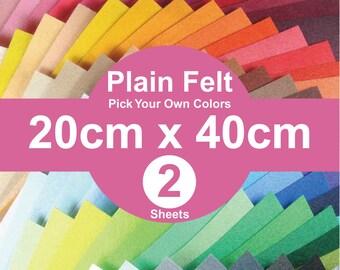 2 Plain Felt Sheets - 20cm x 40cm per sheet - Pick your own color (A20x40)