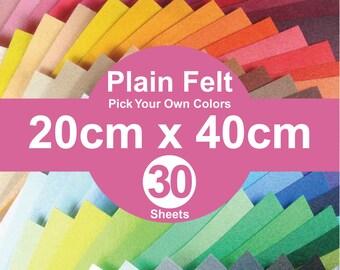 30 Plain Felt Sheets - 20cm x 40cm per sheet - Pick your own color (A20x40)