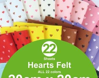 ALL 22 Printed Hearts Felt Sheets - 20cm x 20cm per sheet (H20x20)