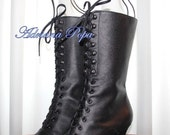 New Victorian boots in Black leather Ankle heeled Stage boots Order your Customized shoe size for strong calf and wide feet