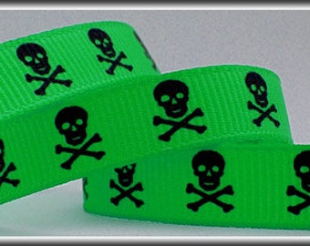 5 Yards black SKULLS on RED 3/8 Grosgrain Ribbon (other colors also available)