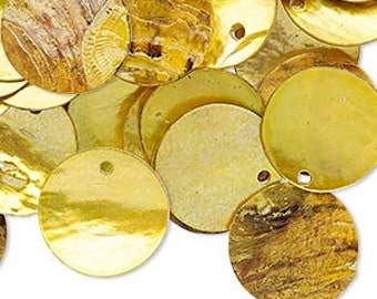 100pcs Mussel Shell Pendant Natural Drop 15mm Round Yellow