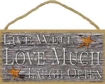 """Stars Live Well Love Much Laugh Often Primitive Rustic Sign 5""""X10"""""""