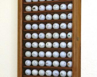 Walnut Golf Ball Display Case Wall Cabinet