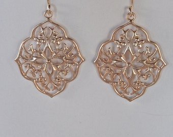 Gold Earrings, Dangly, Flower Earrings, Long Earrings