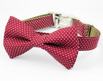 Bow Tie Dog Collar - Dark Red Pin Dot