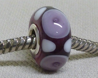 Transparent Purple with Purple Bubble Dots Handmade Lampwork Bead Silver Cored Bead