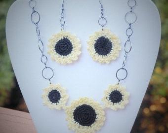 Lacey Crochet Sunflower Jewelry Set