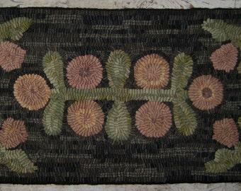 Primitive Rug Hooking Pattern-Antique Flower Garden