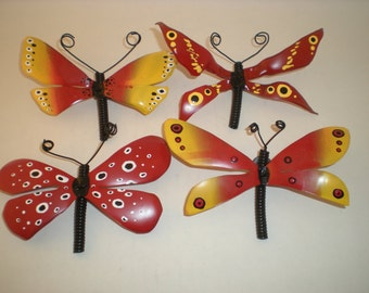 Butterfly magnets Red and Yellow  UpCycled Insect magnets Nature art