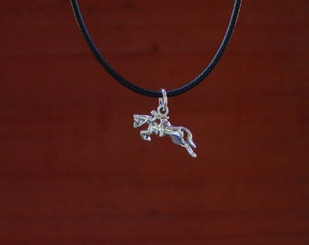 Hunter Jumper Horse Pendant Sterling Silver with adjustable black cord,Equestrian Jewelry