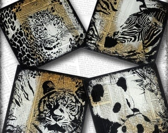 Tiger, Leopard, Zebra and Panda Handmade Glass Coaster Set of Four - Upcycled Dictionary Art - WilD WorDz Collection -  ZoOLoGy 102