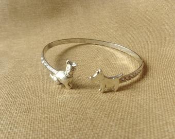 dog cuff bracelet, animal bracelet, charm bracelet, bangle