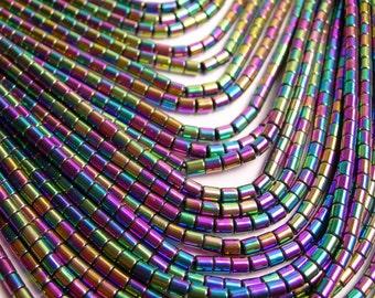 Hematite mystic rainbow - 3mm tube beads - full strand - 130 beads - AA quality - 3x3  -  PHG79