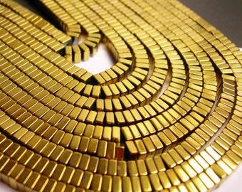 Hematite gold - 4x2mm heishi square slice beads - full strand - 190 beads - A quality - dark gold - PHG103
