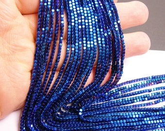 Hematite mystic blue - 2mm rounded cube beads - full strand - 200 beads - A quality - PHG109