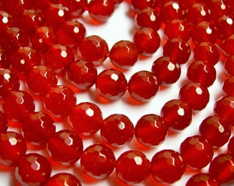 Carnelian faceted 8mm round beads - 1 full strand - 49 beads per strand - AA quality - small cut - RFG98