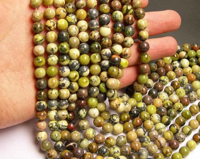 Yellow Turquoise - 8mm round beads - full strand - 48 beads - Yellow matrix turquoise -  RFG18