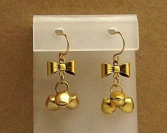 Gold Jingle Bell Earrings, Bows, Christmas