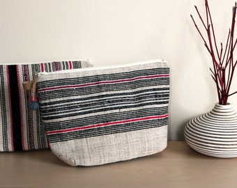 ON SALE!! Handwoven Toiletry Bag with Zipper Make Up Travel Cosmetic Pouch - 2015 Thai Textiles Collection