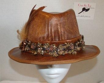 Bronzed Lambskin Leather Fedora